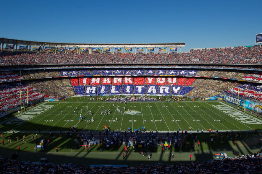 Qualcomm Stadium: 50,000 cards were provided to fans by USAA, the official military appreciation sponsor of the NFL. (Jeff Lewis/AP Images for USAA)