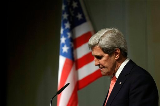 U.S. Secretary of State John Kerry pauses during a press conference at the end of the Iranian nuclear talks in Geneva, Sunday, Nov. 10, 2013.