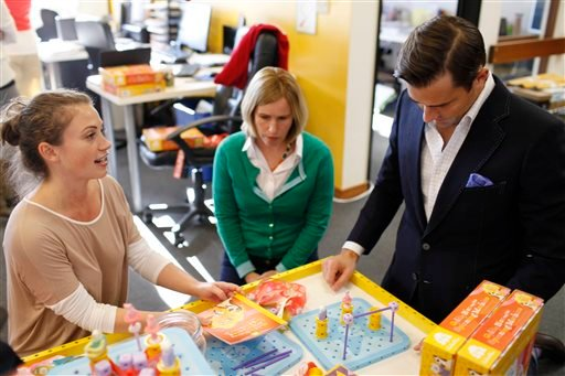 Goldie Blox, Calif., maker of construction toys aimed at girls, is one of four finalists in the Small Business Big Game competition sponsored by Intuit to win a commercial during the Super Bowl, on Tuesday, Nov. 5, 2013 in Oakland, Calif.