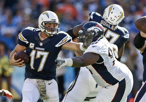 San Diego Chargers quarterback Philip Rivers prepares to deliver a straight arm as he scrambles away from Denver Broncos Terrance Knighton during the second half of a NFL football game Sunday, Nov. 10, 2013, in San Diego. (AP Photo/Gregory Bull)