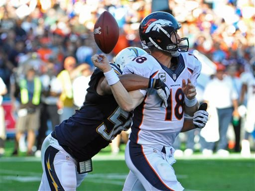 Denver Broncos quarterback Peyton Manning fumbles as he is hit by San Diego Chargers outside linebacker Tourek Williams during the third quarter of a NFL football game Sunday, Nov. 10, 2013, in San Diego.