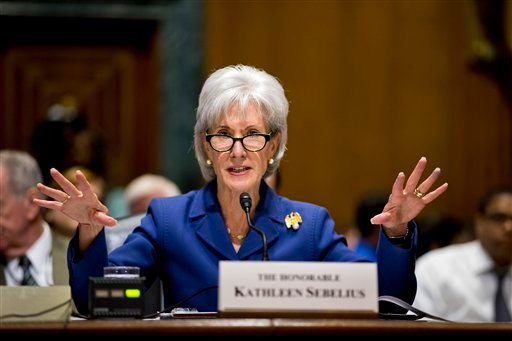 In this Nov. 6, 2013, file photo, Health and Human Services Secretary Kathleen Sebelius testifies on Capitol Hill in Washington on the difficulties plaguing the implementation of the Affordable Care Act. (AP)