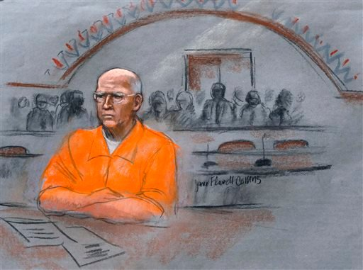 """In this courtroom sketch, James """"Whitey"""" Bulger sits at his sentencing hearing in federal court in Boston, Wednesday, Nov. 13, 2013. (AP)"""