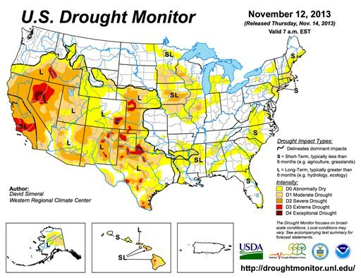 This image provided by NOAA shows the U.S. Drought Monitor graphic on the U.S. Drought Portal Thursday Nov. 14, 2013.