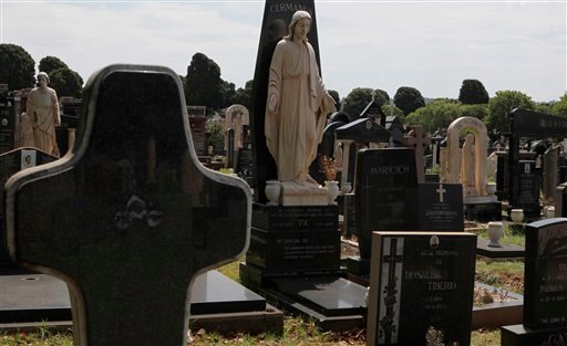 Tombstones in the Westpark cemetary in Johannesburg Friday, Nov. 15, 2013.