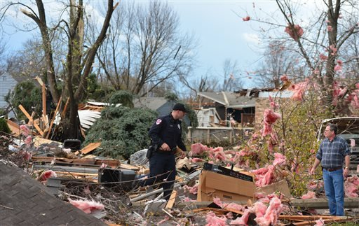 A tornado left a path of devastation through the north end of Pekin, Il.,Sunday, Nov. 17, 2013.