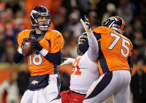 Denver Broncos quarterback Peyton Manning (18) steps back to pass against the Kansas City Chiefs in the first quarter of an NFL football game, Sunday, Nov. 17, 2013, in Denver. (AP Photo/Joe Mahoney)
