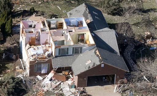 This aerial view on Monday, Nov. 18, 2013, shows a home that was damaged by a tornado that hit the western Illinois town of Washington on Sunday.