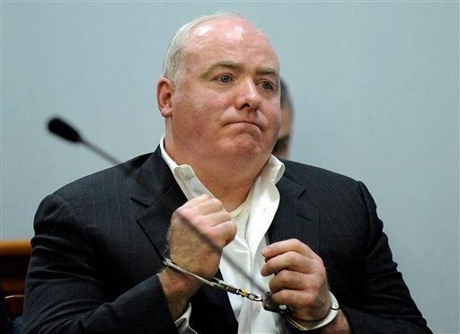 Nov. 6, 2013 file photo, Michael Skakel listens to Judge Trial Referee Thomas Bishop's ruling during a hearing in Rockville Superior Court in Vernon, Conn. (AP Photo/Fred Beckham, Pool, File)