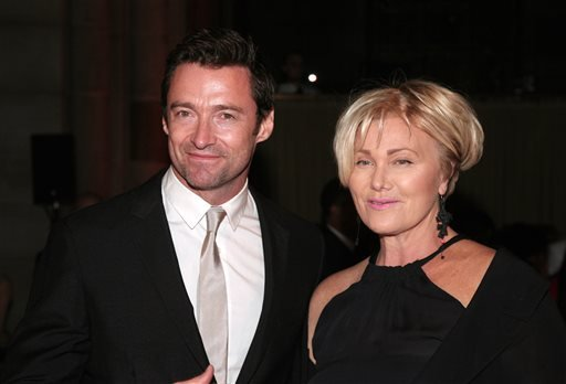 Actor Hugh Jackman, left, and his wife, actress Deborra-Lee Furness, right, attend the New Yorkers For Children Fall Gala 2013 in this, Sept. 17, 2013 file photo taken in New York.