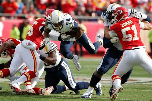 San Diego Chargers running back Ryan Mathews (24) dives for a first down between Kansas City Chiefs defenders during the first half of an NFL football game at Arrowhead Stadium in Kansas City, Mo., Sunday, Nov. 24, 2013. (AP Photo/Ed Zurga)