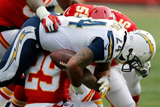 San Diego Chargers running back Ryan Mathews (24) fumbles when hit by Kansas City Chiefs inside linebacker Akeem Jordan (55) and strong safety Eric Berry (29) during the first half of an NFL football game in Kansas City, Mo., Sunday, Nov. 24, 2013.