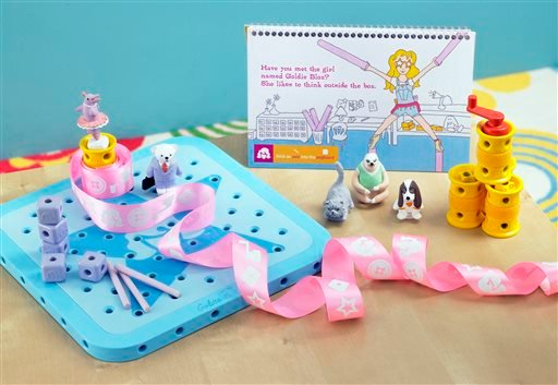 "This August 2012 file photo released by GoldieBlox, Inc., shows the toy items from ""GoldieBlox and the Spinning Machine,"" photographed in San Francisco."