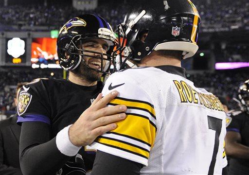 Baltimore Ravens quarterback Joe Flacco, left, chats with Pittsburgh Steelers quarterback Ben Roethlisberger after an NFL football game, Thursday, Nov. 28, 2013, in Baltimore. Baltimore won 22-20. (AP Photo/Nick Wass)