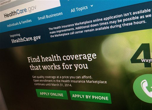 This photo of part of the HealthCare.gov website is photographed in Washington, on Nov. 29, 2013. The beleaguered health insurance website has had periods of down times as as the government tries to fix the problems. (AP Photo/Jon Elswick)