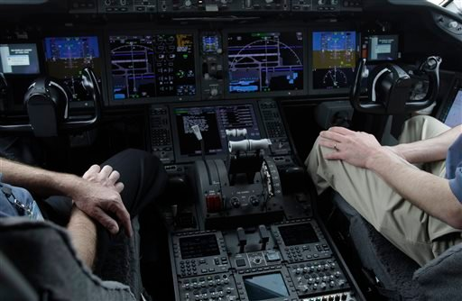 In this Feb. 3, 2011, photo, the cockpit of Boeings' new 787 Dreamliner is photographed in Houston.
