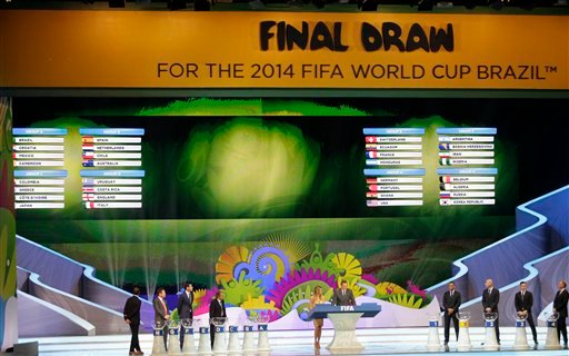 The groups are seen on the screen during the draw ceremony for the 2014 soccer World Cup in Costa do Sauipe near Salvador, Brazil, Friday, Dec. 6, 2013. (AP Photo/Silvia Izquierdo)