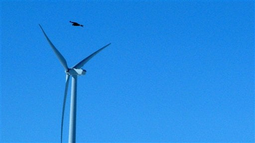 This April 18, 2013 file photo shows a golden eagle flying over a wind turbine on Duke energy's top of the world wind farm in Converse County Wyo.