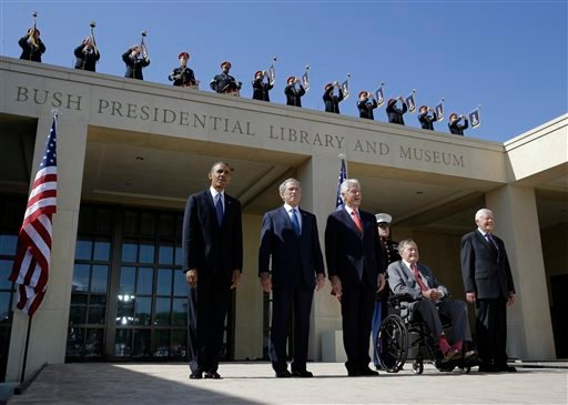 FILE - From left, President Barack Obama, former president George W. Bush, former president William J. Clinton former President George H.W. Bush and former president Jimmy Carter arrive for the dedication of the George W. Bush Presidential Center. (AP)
