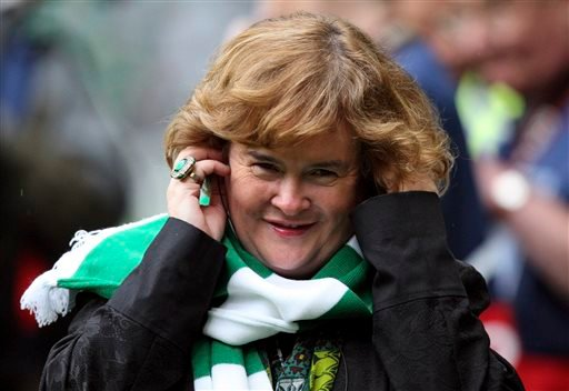 Susan Boyle performs ahead of the Champions League qualifying second round soccer match between Celtic and Helsingborgs at Celtic Park, Glasgow, Scotland, in this Aug. 29, 2012 file photo.