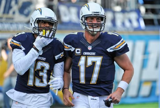 San Diego Chargers quarterback Philip Rivers, right, and wide receiver Keenan Allen jog off the field together after the pair combined on a 43 yard touchdown pass against the New York Giants.