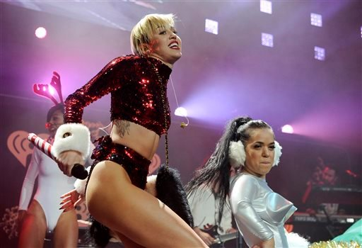 FILE - This Dec. 6, 2013 file photo shows Miley Cyrus performing during the KIIS-FM Jingle Ball concert at Staples Center in Los Angeles. (AP)