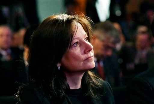 In this Jan. 14, 2013, file photo, General Motors Senior Vice President Mary Barra is seen during presentation of the North American Car & Truck of the Year at the North American International Auto Show in Detroit.(AP Photo/Carlos Osorio, File)