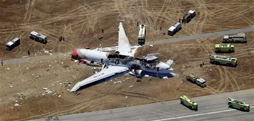 In this Saturday, July 6, 2013 aerial file photo, the wreckage of the Asiana Flight 214 airplane is seen after it crashed at the San Francisco International Airport in San Francisco, Saturday, July 6, 2013.(AP Photo/Marcio Jose Sanchez, File)