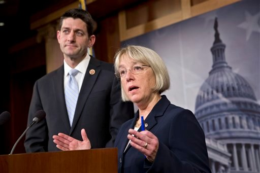 House Budget Committee Chairman Paul Ryan, R-Wis., left, and Senate Budget Committee Chairwoman Patty Murray, D-Wash., announce a tentative agreement between Republican and Democratic negotiators.(AP Photo/J. Scott Applewhite)