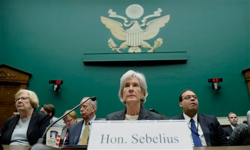 Health and Human Services Secretary Kathleen Sebelius prepares to testify on Capitol Hill in Washington, Wednesday, Dec. 11, 2013, before the House Energy and Commerce Committee hearing on the implementation failures of the Affordable Care Act. (AP)