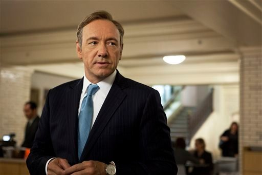 "This image released by Netflix shows Kevin Spacey as U.S. Congressman Frank Underwood in a scene from the Netflix original series, ""House of Cards."" (AP)"