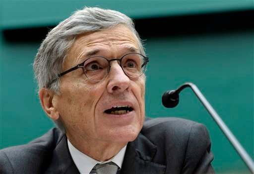 Federal Communications Commission (FCC) Chairman Tom Wheeler testifies on Capitol Hill in Washington, Thursday, Dec. 12, 2013, before the House Energy and Commerce Committee hearing on cell phones on planes. (AP)