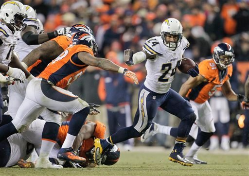 San Diego Chargers running back Ryan Mathews (24) gets past the Denver Broncos defense in the fourth quarter of an NFL football game, Thursday, Dec. 12, 2013, in Denver.