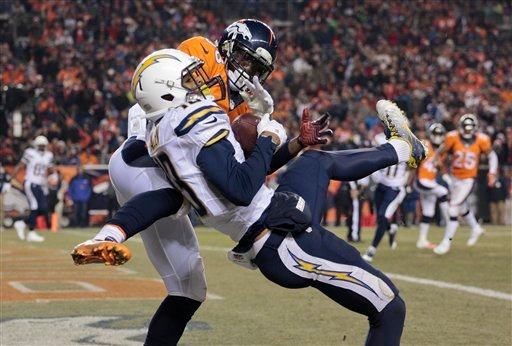 San Diego Chargers wide receiver Keenan Allen (13) catches a pass for a touchdown against Denver Broncos cornerback Kayvon Webster (36).