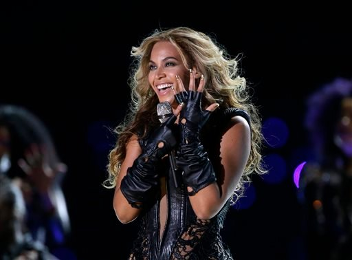 In this Feb. 3, 2013 file photo, Beyonce performs during the halftime show of the NFL Super Bowl XLVII football game between the San Francisco 49ers and the Baltimore Ravens, in New Orleans.