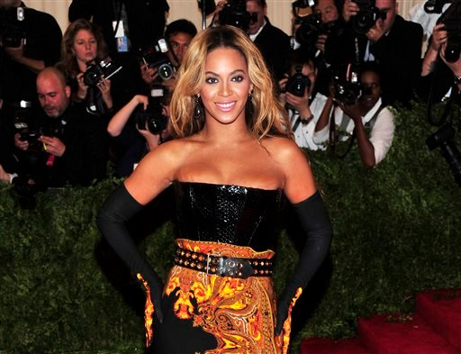 This May 6, 2013 file photo shows singer Beyonce at The Metropolitan Museum of Art's Costume Institute benefit in New York.