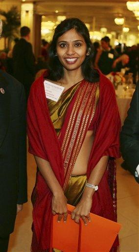 This Dec. 8, 2013 photo shows Devyani Khobragade, India's deputy consul general, during the India Studies Stony Brook University fund raiser event at Long Island, New York. (AP Photo/Mohammed Jaffer)