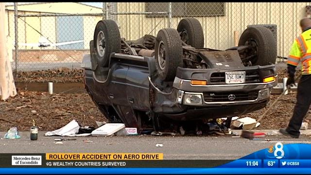 SUV rollover accident on Aero Drive near Montgomery Field Wednesday morning.