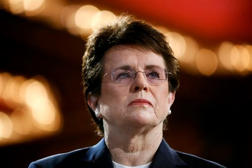 In this June 4, 2007, file photo, tennis champion Billie Jean King is introduced during a town hall conversation hosted by the group Women for Hillary in New York.