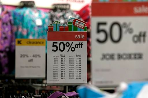 In this Thursday, Nov. 28, 2013, photo, sale signs are displayed at a Kmart, in New York. (AP)