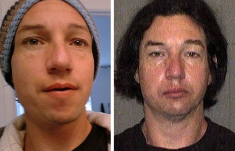 Vick Johansen: Undated Facebook photo (left); 2013 Mono County Jail mug shot (right)