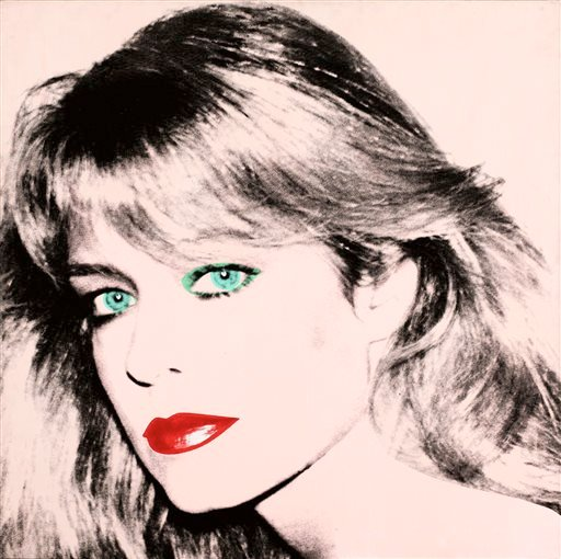 "This photo released by courtesy of the Blanton Museum of Art shows Andy Warhol's painting of ""Farrah Fawcett,"" 1980. The painting was bequeathed by Fawcett to the University of Texas at Austin in 2010."