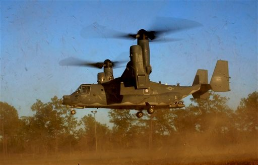 """In this photo taken Jan. 26, 2011 and released by the U.S. Air Force, a CV-22 Osprey aircraft of the 8th Special Operations Squadron (SOS) """"Black Birds"""" comes in for a landing during a local training mission at Hurlburt Field, Florida, USA."""