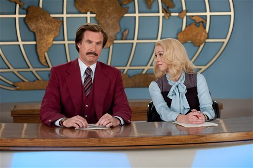 "This image released by Paramount Pictures shows Will Ferrell as Ron Burgundy, left, and Christina Applegate as Veronica Corningstone in a scene from ""Anchorman 2: The Legend Continues."""