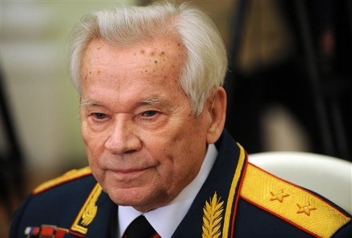 In this Tuesday, Nov. 10, 2009 file photo Mikhail Kalashnikov, who invented the AK-47 assault rifle, attends festivities to celebrate his 90th birthday at the Kremlin in Moscow.