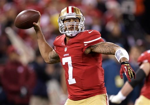 San Francisco 49ers quarterback Colin Kaepernick passes against the Atlanta Falcons during the first quarter of an NFL football game in San Francisco, Monday, Dec. 23, 2013. (AP Photo/Tony Avelar)