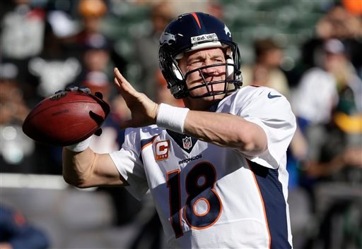 Denver Broncos quarterback Peyton Manning (18) warms up before an NFL football game against the Oakland Raiders in Oakland, Calif., Sunday, Dec. 29, 2013. (AP Photo/Tony Avelar)
