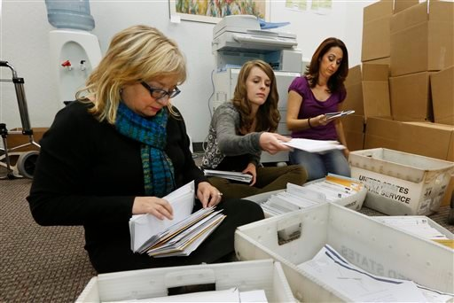In this Thursday, Nov. 7, 2013 file photo, Karen England, executive director of the California Resource Institute, left, and volunteers Grace LeFever, center, and Christina Hill, sort through stacks of mail with petitions.