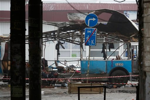 A wreckage of a trolleybus sits in downtown Volgograd, Russia Monday, Dec. 30, 2013.