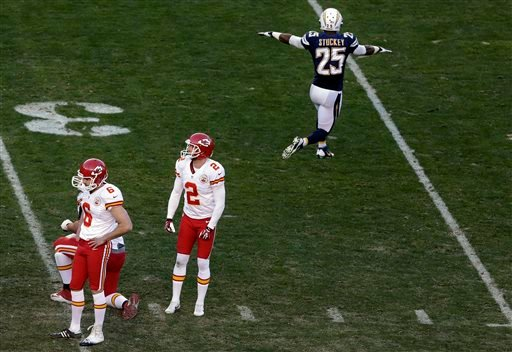 Chiefs kicker Ryan Succop looks down after missing a field goal during the last minute of regulation time as Chargers defensive back Darrell Stuckey reacts during the second half in an NFL football game Dec. 29. (AP Photo/Gregory Bull)